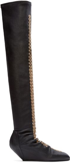 Rick Owens - Black Stretch Leather Sequin Boots