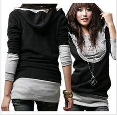 Fashion Korean Women U Collar Long sleeve Casual Tops Shirt Hoodie Coat   eBay