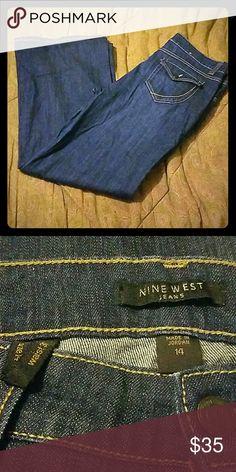 "**NEW PICS**Nine West NWOT NWOT, size 14, 31"" waist wide leg jeans, dark blue jeans Nine West Jeans Flare & Wide Leg"