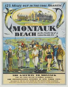 Montauk, Long Island, vintage travel poster.  Still one of the best vacation spots in the world.