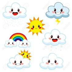 Illustration about Collection of cute cartoon weather elements showing different meteorology concepts. Illustration of nature, cloudy, climate - 38368962 Turtle Painted Rocks, Front Page Design, Pop Up Frame, Weather Art, Preschool Weather, Turtle Painting, Doodle Lettering, Butterfly Art, Kawaii Drawings