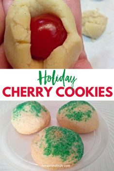 These holiday cherry cookies are a perfect dessert no matter the occasion. This soft sugar cookie holds a delicious cherry treat inside. It's a cherry bomb. This is a perfect Christmas cookie for a cookie swap or to enjoy any time of year. Holiday Desserts, Christmas Recipes, Fun Desserts, Holiday Recipes, Christmas Ideas, Merry Christmas, Dessert Recipes, Cherry Cookies, Soft Sugar Cookies