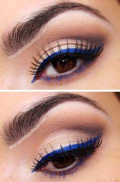 Blue eyeliner with blue lower lash mascara