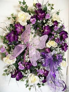 Lilac and purple butterfly door wreath with flowers