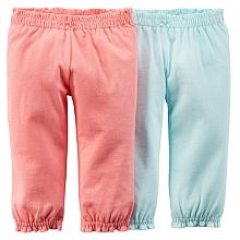 Super soft and versatile, these pants pair perfectly with bodysuits for quick and comfy outfits.<ul>Available in sizes: Newborn, 3 months, 6 months, 9 months, 12 months, 18 months and 24 months.  Sizes may vary by store.</ul><br><br>2-pack</br><br>Cinched waistbands & cuffs</br><br>Bow detail</br><br>100% cotton jersey</br><br>Machine washable</br>