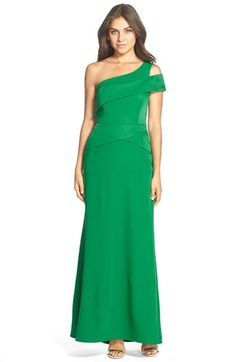 BCBGMAXAZRIA One Shoulder Satin Gown available at #Nordstrom