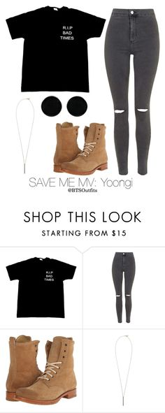 """Save Me MV: Yoongi"" by btsoutfits ❤ liked on Polyvore featuring Topshop, Frye, French Connection and AeraVida"