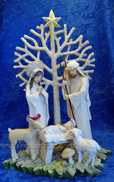 """""""Tree of Life"""" Holy Family Nativity figurine. This nativity figurine is crafted of resin and measures x x Christmas Holidays, Christmas Decorations, Christmas Ornaments, Nativity Crafts, Nativity Sets, Birth Of Jesus Christ, Advent Season, Christmas Nativity Scene, O Holy Night"""