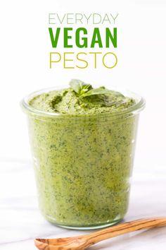 "Vegan Pesto The ULTIMATE vegan pesto recipe -- easy to make, healthy and tastes just like the ""real"" thing!The ULTIMATE vegan pesto recipe -- easy to make, healthy and tastes just like the ""real"" thing! Vegan Sauces, Vegan Dishes, Vegan Recipes Easy, Whole Food Recipes, Free Recipes, Vegan Ideas, Vitamix Recipes, Sauce Recipes, Sin Gluten"
