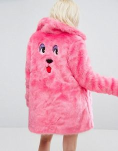 Lazy Oaf Oversized Faux Fur Coat Coat With Bear Embroidery this is the coolest fur coat i have ever seen!!!!! perfect for the winter!!!
