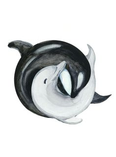 Just a weird idea I had while painting an orca. Orca and a Dolphin in YinYang Watercolor Painting Orca Tattoo, Dolphins Tattoo, Whale Tattoos, Body Art Tattoos, Cool Tattoos, Tatoos, Orca Art, Dolphin Art, Tattoo Ideas