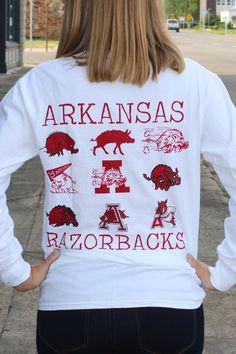 Arkansas Vintage Logos Tee {White} - The Fair Lady Boutique - 1 Ar Razorbacks, Arkansas Razorbacks Football, Razorback Shirt, Woo Pig Sooie, Florida Girl, What Should I Wear, Autumn Winter Fashion, Winter Style, Work Attire
