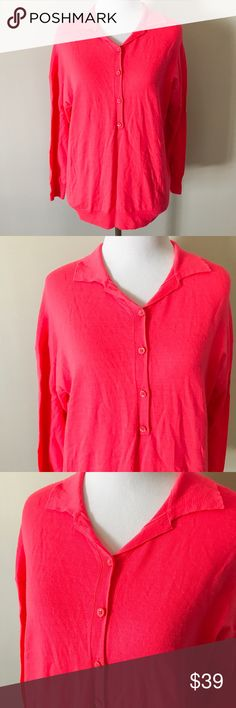 J. Crew Featherweight Merino Long Sleeve Polo Gorgeous bright coral color Merino wool top from J. Crew. Long sleeve polo style. The 'featherweight' quality of the wool makes this a perfect piece for spring in addition to cooler months. SIze M, no flaws and no signs of wear. Relaxed fit, hits sightly below hips. -------- The perfect drapey polo shirt, crafted in our famous merino wool, has sleeves that hit right above the wrists.  Merino wool. Rib trim at cuffs and hem. Dry clean. J. Crew…
