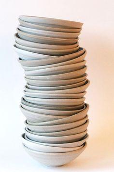 Porcelain bowls with celadon inside Keramiek atelier Marjoke de Heer