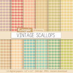 Scallops digital paper VINTAGE SCALLOPS patterns old by Grepic  https://www.etsy.com/listing/152209048/scallops-digital-paper-vintage-scallops?ref=shop_home_active_20