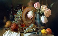 painting still life Alexei Antonov table tableware tray vase flowers tulips fruits berries grapes pears pomegranate lemon apricot glass knife pen magnifying glass envelope letter art painting wallpaper background