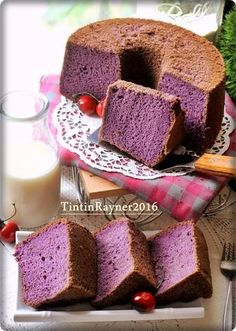 CHIFFON CAKE TARO  aka Ubi Ungu Super Soft Moist Fluffy Tea Cakes, Cupcake Cakes, Cake Cookies, Muffin Cupcake, Cupcakes, Baking Recipes, Cake Recipes, Dessert Recipes, Taro Cake