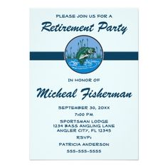 Shop Angler Sportsman Fish Retirement Party Celebration Invitation created by Invitation_Invite. Retirement Party Invitations, Retirement Parties, Custom Invitations, 70th Birthday, Rsvp, Announcement, Special Occasion, Celebration, Fish