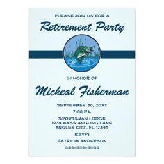 Retirement Party Invitations Angler Sportsman Fish Retirement Party Celebration Card
