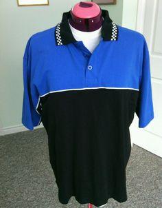 Pace Race Wear Men's Blue Black Polo Shirt Size M Nascar Dayton Car Racing Track | eBay