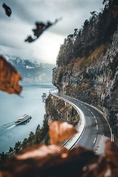Open Road, Lake Thun, Switzerland   by Manuel Dietrich  #Switzerland #country #road #roads #path #drive #Mountains #europe