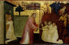 Indulgence for a Visit to a Church or Oratory on All Souls Day: Saint Lawrence Liberates Souls from Purgatory. Scenes from the Life of Saint Lawrence, predella, ca. 1412. Found in the collection of the Brooklyn Museum, New York.