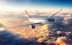 Télécharger fonds d'écran Airbus A350 XWB, 4k, passenger plane, Qantas Airlines, Airbus A350, civil aviation, A350 XWB, Airbus
