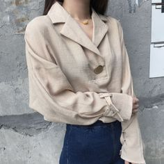 2017 Spring New Loose Striped Windy Clasp Strap Sleeve Blouse Shirt Blue Apricot 1703 Spring New, Shirt Blouses, Shirts, Long Sleeve Tops, High Fashion, Beige, Pullover, Sleeves, Clothes