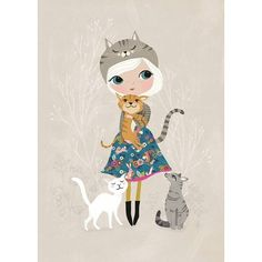 Petite Louise poster A4 Cat Lover