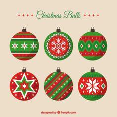 Decorative christmas balls in flat style Free Vector Merry Christmas, Christmas Icons, Christmas Arts And Crafts, Christmas Stickers, Christmas Baubles, Winter Christmas, Wallpaper Natal, Xmas Wallpaper, Christmas Cake Designs