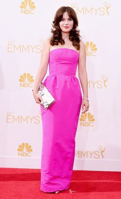 Zooey Deschanel wearing an Oscar de la Renta gown at the 66th Annual Emmy Awards