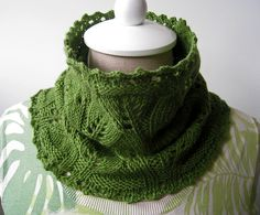 Growing Leaves Cowl pattern by Meghan Macko - includes instructions for both bulky weight & worsted - uses picot cast-on