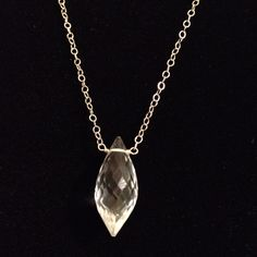Amazing faceted quartz on solid 14k chain coryboan@gmail.com