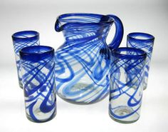 Drinking Glasses Sets | Drinking Glasses & Pitcher, Blue Swirl, Set of 4 (20oz)