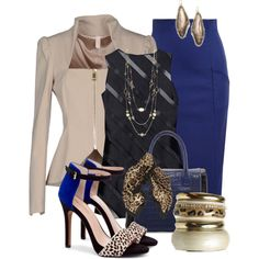 A fashion look from March 2014 featuring rayon tops, zip blazer and blue pencil skirt. Browse and shop related looks. Classy Work Outfits, Dressy Outfits, Chic Outfits, Fashion Outfits, Womens Fashion, Dinner Outfits, Woman Outfits, Night Outfits, Office Fashion
