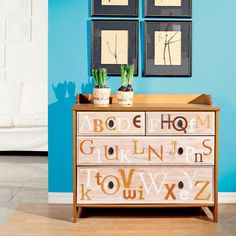 Alphabet dresser. I love this idea but my OCD would have to have the letters in order
