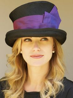 Black Straw & Purple Silk, Victorian English Riding Hat  For Ascot.. $82.00, via Etsy.