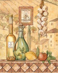 Kitchen Art and Kitchen Wall Art at FulcrumGallery Kitchen Art Prints, Kitchen Wall Art, Kitchen Decor, Tile Murals, Decoupage Vintage, Tuscan Decorating, Beautiful Artwork, Food Art, Illustration