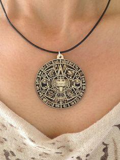 Aztec Calendar Wood Pendant by woodulike on Etsy, $7.50