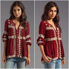 """Free People boho Iris peasant top in cranberry Gorgeous top by Free People in cranberry red and beige. Beautiful embroidered details and crochet insets! Size small but would fit a medium as well because of the flowy, oversized style. Measures21"""" from underarm to underarm and 26.5"""" long. Excellent condition! No trades. Free People Tops Blouses"""