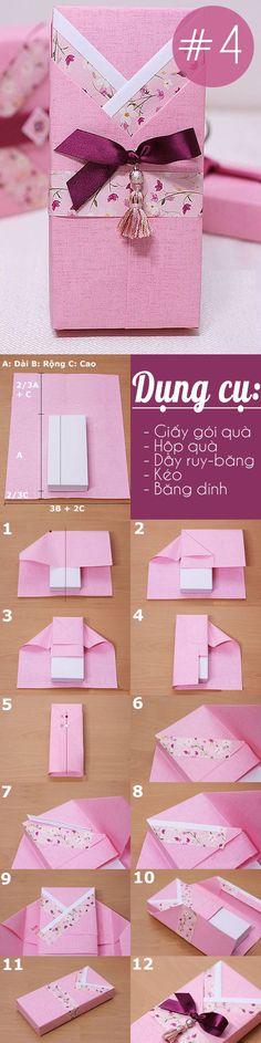Tổng hợp các cách gói quà vừa xinh vừa tiện dụng 4 Origami Box Tutorial, Gift Wrapping Tutorial, Wrapping Ideas, Creative Gift Wrapping, Present Wrapping, Creative Gifts, Gift Wrap Diy, Diy Gift Box, Korean Language