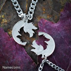 Wolf couples Necklaces Wolves Jewelry Interlocking by NameCoins