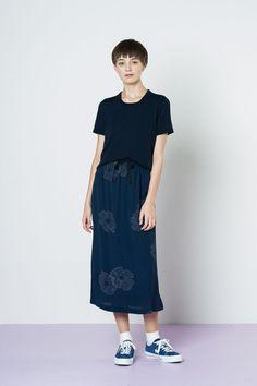 Twenty-Seven Names Clara Skirt - Navy Spot Floral – Wanda Harland Design Store