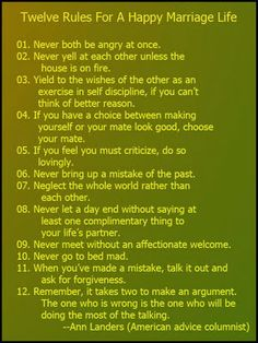Tips twelve rules for a happy marriage life more life quotes marriage