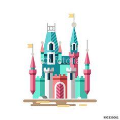 Vector: Magical castle. Fabulous palace. Vector flat illustration.