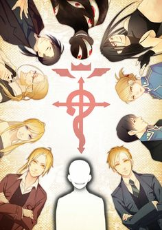 Edward Elric, Winry Rockbell, Van Hoenhime, Ling Yao/Greed, Pride, Envy, Riza Hawkeye, Roy Mustang, Alphonse Elric and The Truth. (FullMetal Alchemist: Brotherhood).