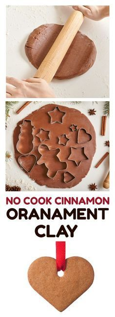 No Cook Cinnamon Ornament Clay! A fun and delicious smelling sensory activity for this Christmas or holiday season with kids! Great for making ornaments of gifts! #DIYclay #diyornaments