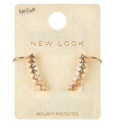 Lot de 2 paires de bijoux d'oreilles dorés avec perles et pierres