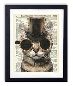 Steampunk Cat Upcycled Vintage Dictionary Art Print from Vintage Book Art Co. Steampunk Bathroom Decor, Steampunk Bedroom, Steampunk Interior, Steampunk Home Decor, Steampunk Cat, Steampunk Kunst, Steampunk House, Steampunk Animals, Steampunk Theme