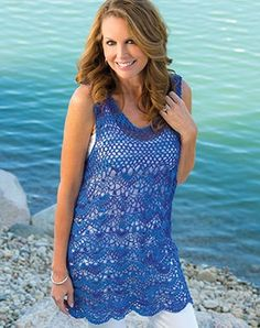 This, if I did not have a subscription, would sell me the magazine. It's on the cover. It's a great top or beach coverup. From the Spring, 2016 issue of Crochet magazine. I mention this often, or I used to. When you subscribe, even just an online...